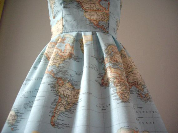 So cool. If only I were Mrs. Frizzle....World Map Printed Strapless Cotton Summer Dress