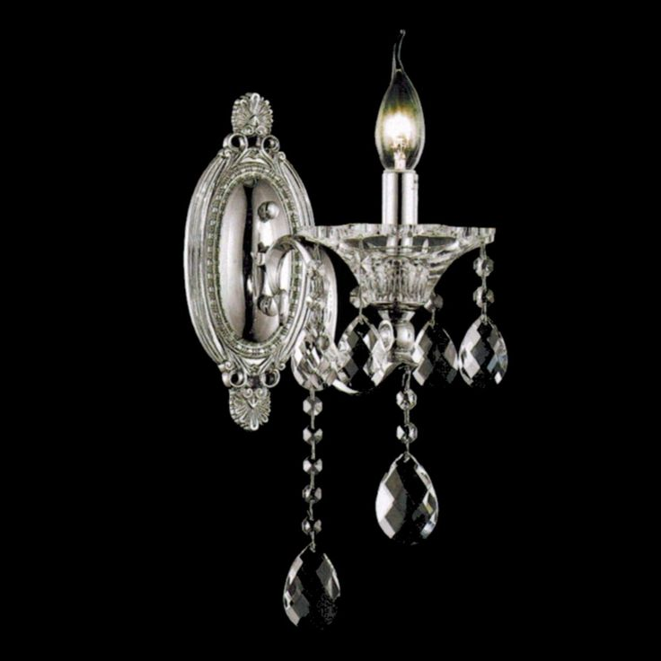 "Show details for 11"" Vittoria Traditional Crystal Candle Wall Sconce Polished Chrome 1 Light."
