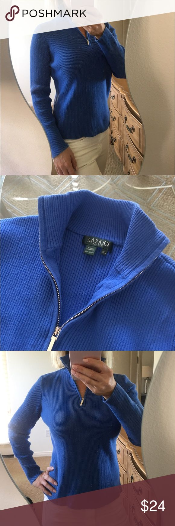 ✨Ralph Lauren Cotton Half Zip Up Turtleneck Top✨ Cute and classic blue ribbed Ralph Lauren Petite ribbed turtleneck! Half zip with silver metal hardware, mock turtleneck, long sleeved. Cotton material with some stretch to it. Perfect basic! In great condition! ❤️ Ralph Lauren Tops
