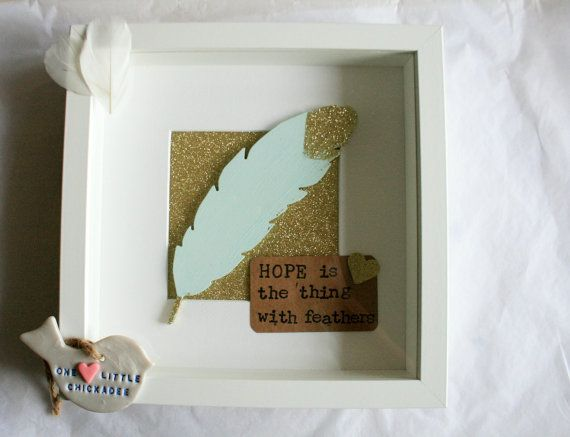 Hand painted feather, Hope is  the thing with feathers quote £25
