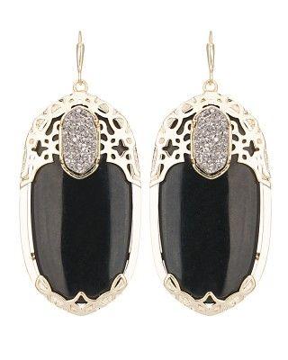 New GlamRocks collection from @Kendra Scott - Deva Statement Earrings in Black Twilight $95
