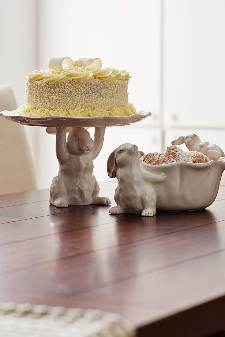 Hurry and take a piece of cake from Pier 1's White Bunny Elevated Platter before the bunny gets tired.