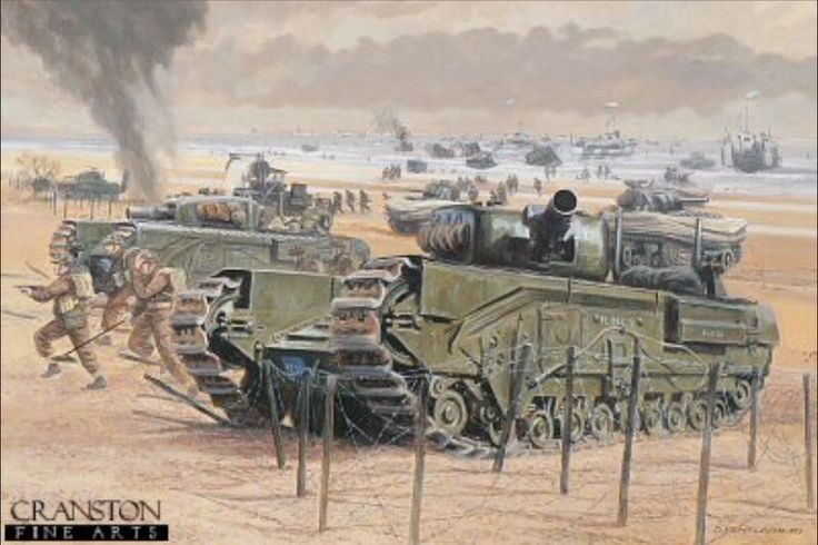 Royal Engineers Churchill AVREs of 6th Assault Regiment, 81st Squadron and DD Shermans of the 4/7th Dragoon Guards. Both units were part of perhaps the most important formation involved in the British and Canadian landings, the 79th Armoured Division or Funnies. Composed of a variety of armoured vehicles, designed to support the beach assault troops, they included mine flails, bunker busters, carpet layers, and amphibious tanks.