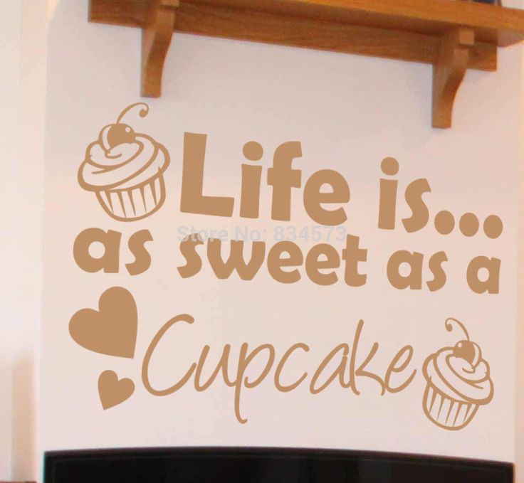 Cake LIFE IS AS SWEET AS A CUPCAKE Wall Art Stickers Decal Home DIY Decoration Decor Wall Mural Removable Bedroom Wall Stickers
