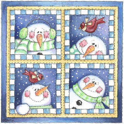 4 snowmen type quilt