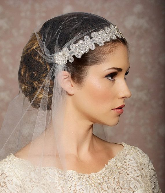Juliet Cap Veil Tulle Cap Veil Vintage Inspired Art Deco Gatsby Wedding Veil Crystals Rhinestones Veil- Ready to ship - SIMONE, $126.00