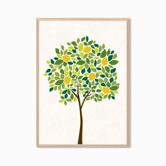 Lemon tree wall decor : Lemon tree poster modern illustration retro art wall