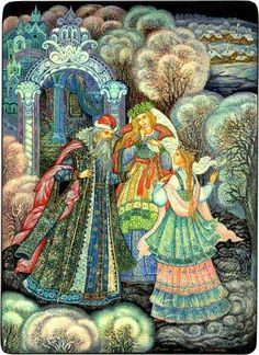 Russian lacquer miniature from the village of Palekh. Snegurochka (a kind of Snow Maiden) with her parents. Illustration to a fairy tale.