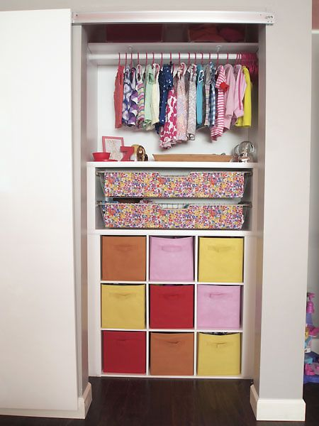 Closet Maid Cubby Organizer And Bins Framed In, With Ikeas Complement Wire  Baskets On Top, Framed In, With A Rod And Shelf Above For A Custom Closet