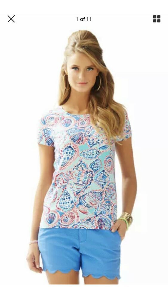 bad0f9a8873f45 Lilly Pulitzer Karrie Top Shell Me All About It Short Sleeve NWOT SIZE XXS # LillyPulitzer #KnitTop #Casual