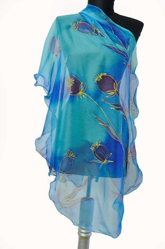 New collection! Hand painted silk chiffon scarf. Blue LUXURY scarf. Floral chiffon scarf. Painting on hand flowers. Silk professional dyes! Woman silk scarf, luxury gift. Beautiful long silk accessory for your happy day! This scarf is a wonderful gift to your outfit. It gives a very fresh and elegant charm to your clothing and yourselves! It is suitable to be worn in all seasons. Gift for your mother, sister and wife. size: 18/70 or 50/170 cm long --------------------------------...