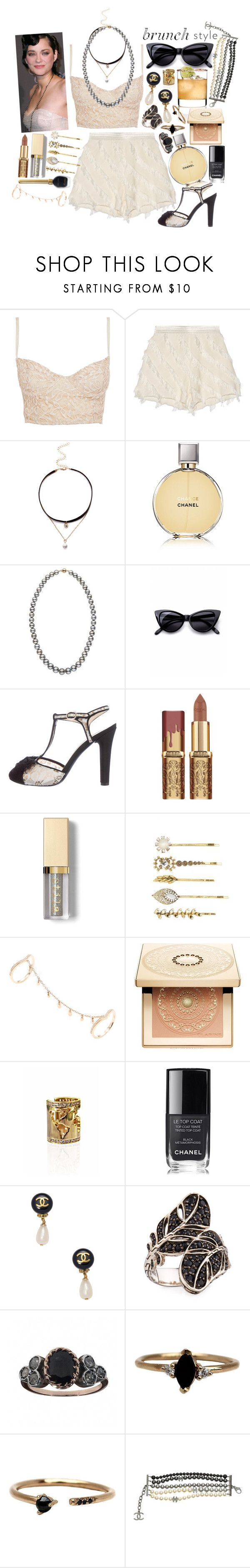 """""""Just Another Day - Lady Gaga"""" by leo8august ❤ liked on Polyvore featuring Miso, Sandro, Chanel, Retrò, Stila, Tasha, Shay, Clarins, Artelier and John Hardy"""