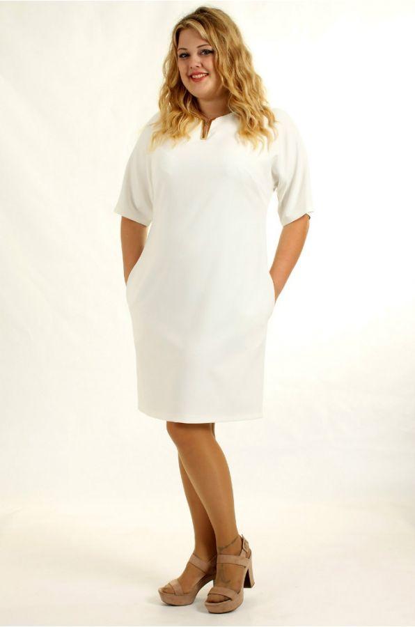P0560 Платье полуприлегающего силуэта с боковыми карманами и рукавом 3/4. Все платья этой модели в ярких, жизнерадостных тонах. (business style dress)