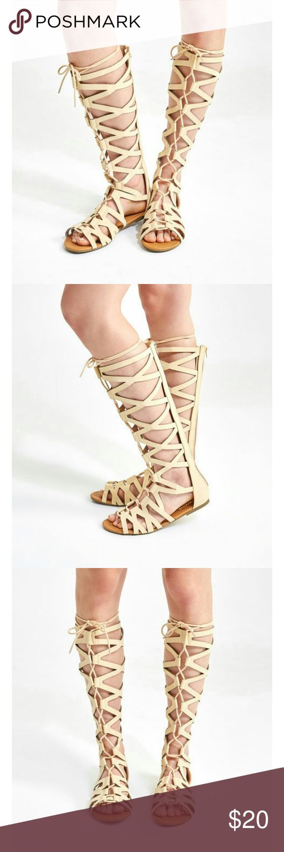Women's gladiator shoes Women's gladiator shoes in the color Beige. They have a zipper back Shoes Sandals