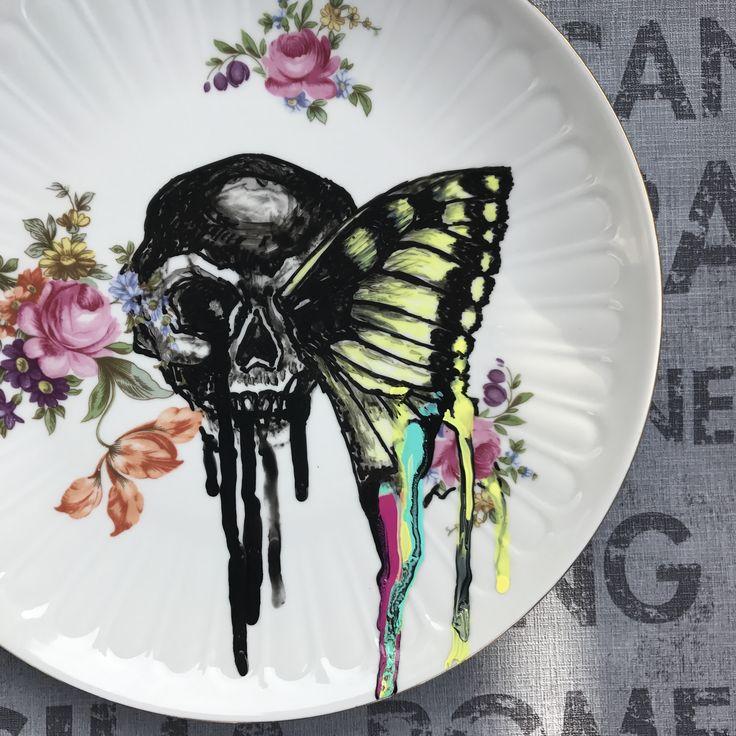 My ceramicart #skullsandbutterflies #knightbutterfly #paintingonvintageplates