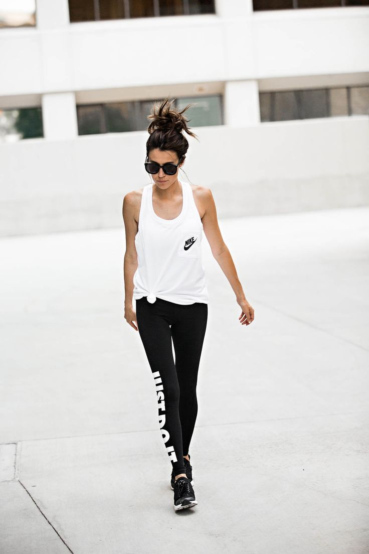 Have these shoes in black and white! They are super comfortable! So obsessed with these leggings! DETAILS: WHITE RACERBACK TANK (WEARING SIZE MEDIUM – I LIKE THEM BAGGY – ALSO LOVE THIS…