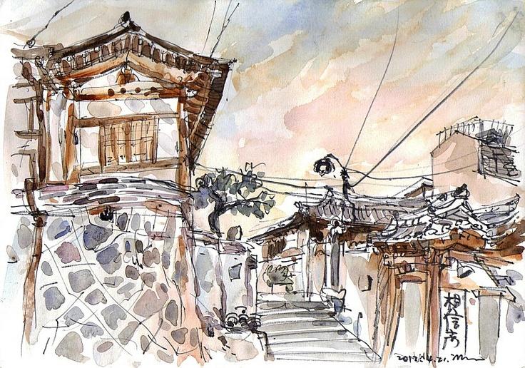 Seoul sketch, Bukchon Hanok houses.