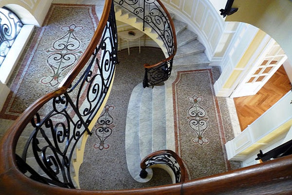 Beautiful Staircase from the early 1900s completely renovated - Villa Salva in Villefranche sur Mer, France.