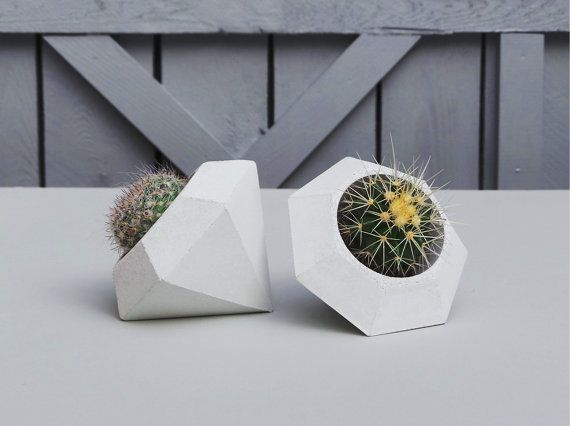 Concrete Planter  Geometric Diamond Handmade by IndustrialRepublic