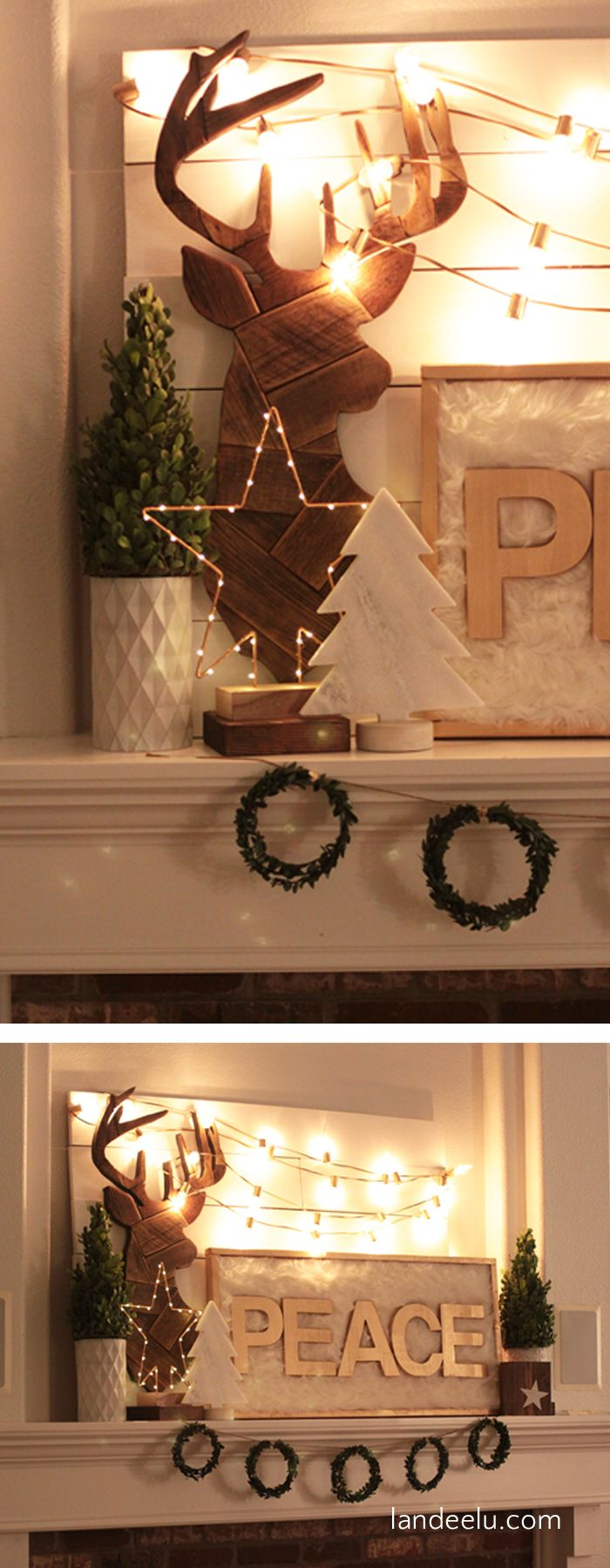 Christmas mantle decor - Christmas Mantel Decor Peace