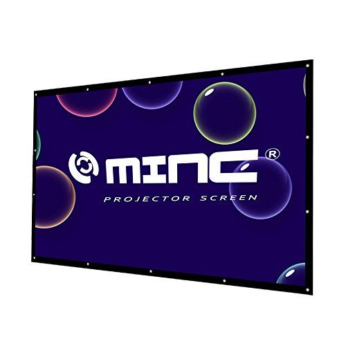 """Outdoor Portable Projector Screen 120 Inch 16:9 Home Cinema Movie Screen by MINC  Dimension: 16:9 screen format and diagonal 120"""" offers 58""""H 104""""W viewing area. Packaged in folded professionally, easy to carry.  CONVENIENT TO CARRY: Folded in small package 13.5""""L 11.5""""W 3.1""""H, 3 pounds, can be placed in the backpack.  EASY TO SET UP: with some rope set up on touring car or bracket,  Material: Projection screen canvas fabric with 1.1 gain. 4K Ultra HD and Active 3D Projection Ready. ea..."""