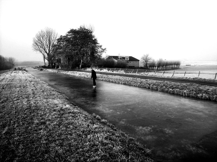 The canal in holland Winter and skating