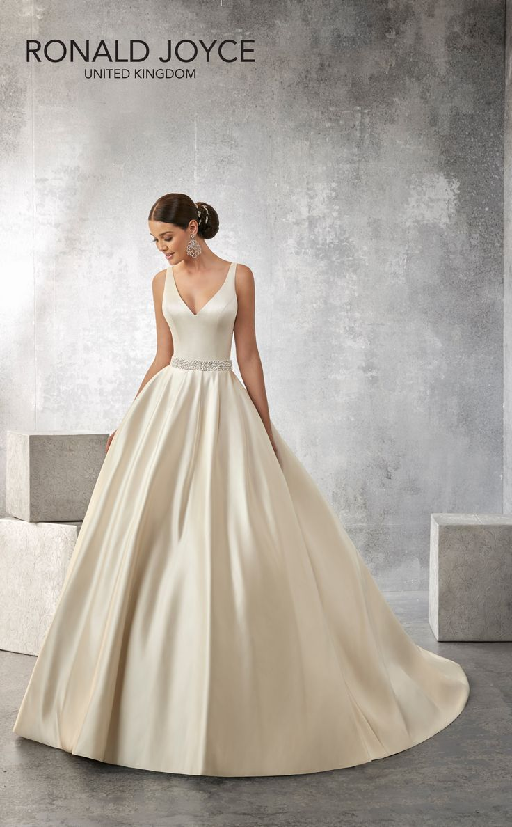 36 best ronald joyce images on pinterest wedding dressses alison a classic satin sleeveless ball gown with a pearl and jewel encrusted waistband v back and button detail ombrellifo Choice Image