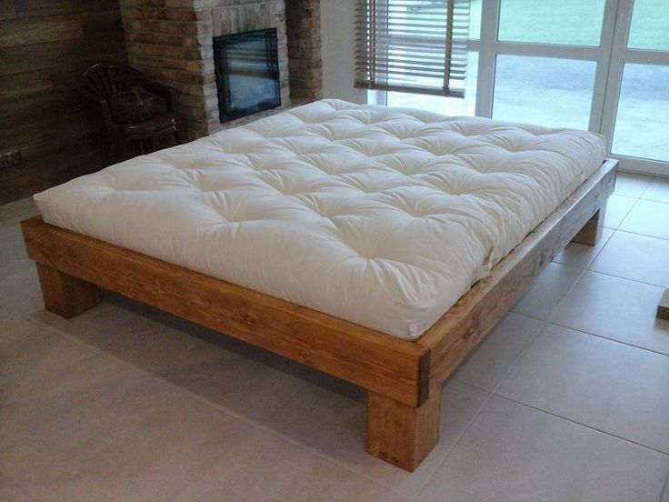 Large bed my idea. Tree spruce and alder. Some industrial style. Japanese futon mattress. Dimension mattress 180cmx210cm