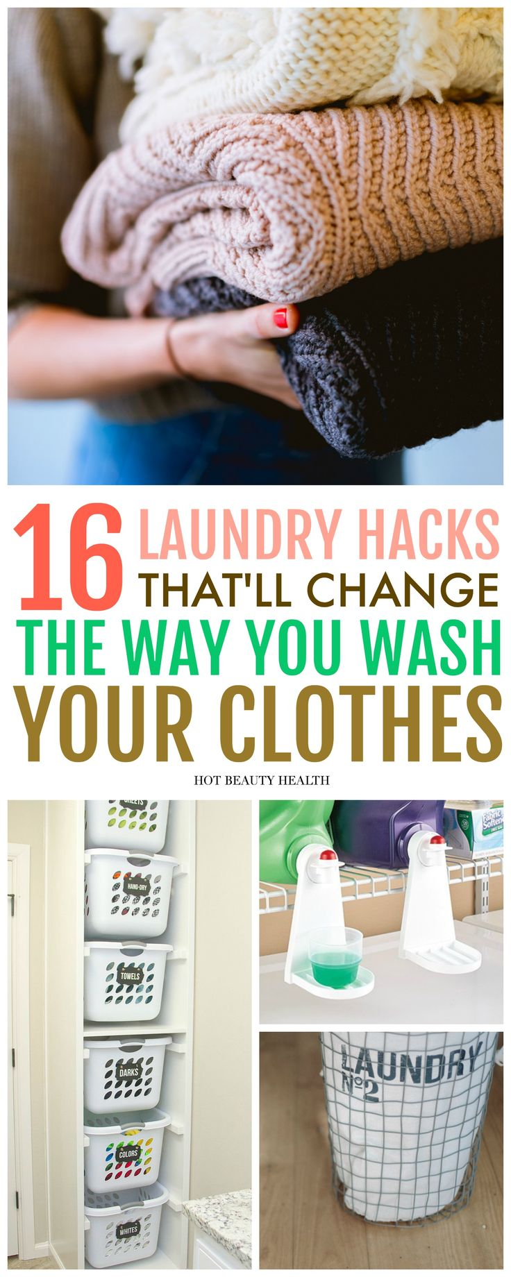 16 DIY Laundry Hacks That Will Change The Way You Wash Clothes. Great list for busy moms to use during spring cleaning! Learn how to remove common stains, smell, and more!