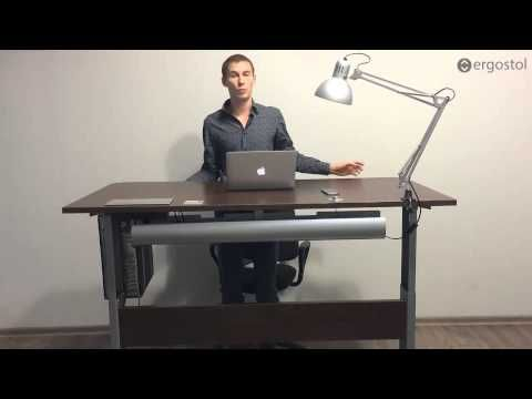 Стол для работы стоя - сидя регулируемый по высоте с электроприводом Ergostol Duo (501-15) - YouTube