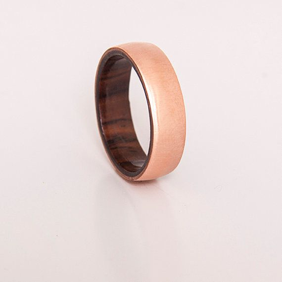 mens wedding ring copper ring with inner wood by titaniumbands