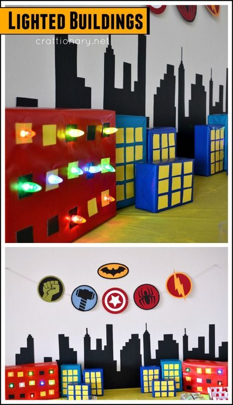 DIY lighted buildings for birthday party #superhero.. Great idea that can be used with any party theme