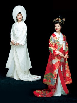 """Shiromuku (white and pure)"" and ""Iro Uchikake (coloured bridal robe"") and the TSUNOKAKUSHI hood, worn before and during the Shinto wedding ceremony. SHIROMUKU is one of the most prestigious wafuku (traditional clothing) in Japan. SHIROMUKU and the entire ensemble the bride wears with this kimono is white, from her outer robe, uchikake, to the kimono worn beneath the robe, kakeshita, which are created in rich fabric, such as silk or satin, and often includes elaborate embroideries."
