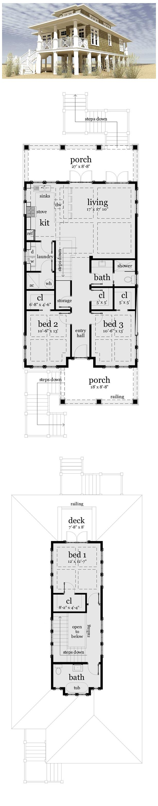 House Plan 70806 | Total living area: 1581 sq ft, 3 bedrooms & 2 bathrooms. #coastal #houseplan #beachhouse