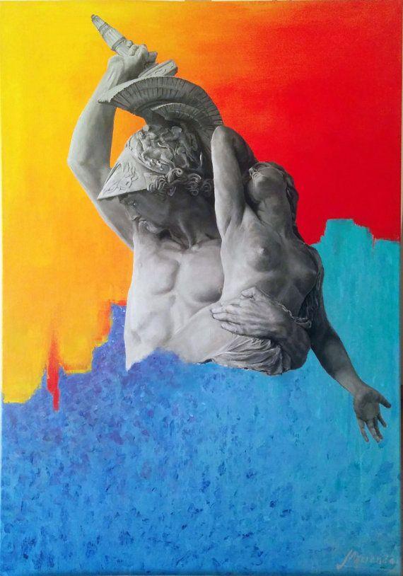 """Técnicas mixtas (óleo+acrílico) sobre tela, 70cm x 100cm. Inspirado en la escultura """"El rapto de Políxena"""" de Pio Fedi. Tienda Online en https://www.etsy.com/shop/MirandaLeonardo"""