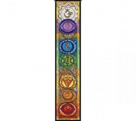 Wandkleed Kundalini met de 7 Chakra's