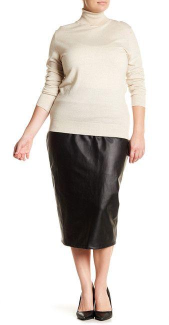 14th & Union Faux Leather Pencil Skirt (Plus Size)