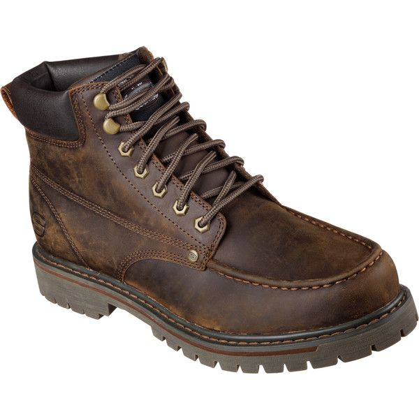 Skechers Men's Bruiser Brown - Skechers (£66) ❤ liked on Polyvore featuring men's fashion, men's shoes, men's boots, brown, skechers mens shoes, mens brown shoes, mens brown boots, mens chukka boots and mens rubber boots