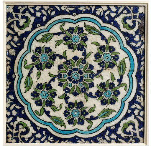 Tile | Made in Damascus, Syria, ca. 1550-1600 | Materials: fritware, polychrome underglaze painted in blue and cobalt, glazed | In the 16th century, Damascus became an important Ottoman provincial capital giving rise to new building schemes faced with tilework | The designs were inspired by Iznik patterns, but were freed of the formality of the strictly controlled court designs, instead the Syrian patterns are more spontaneous and exuberant | VA Museum, London
