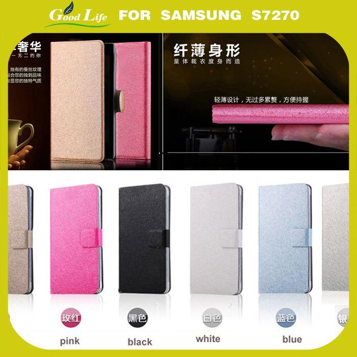 Кошелек черный кожаный мобильные телефоны , аксессуары для Samsung Galaxy ACE 3 III S7270 S7272 - чехол обложка чехол