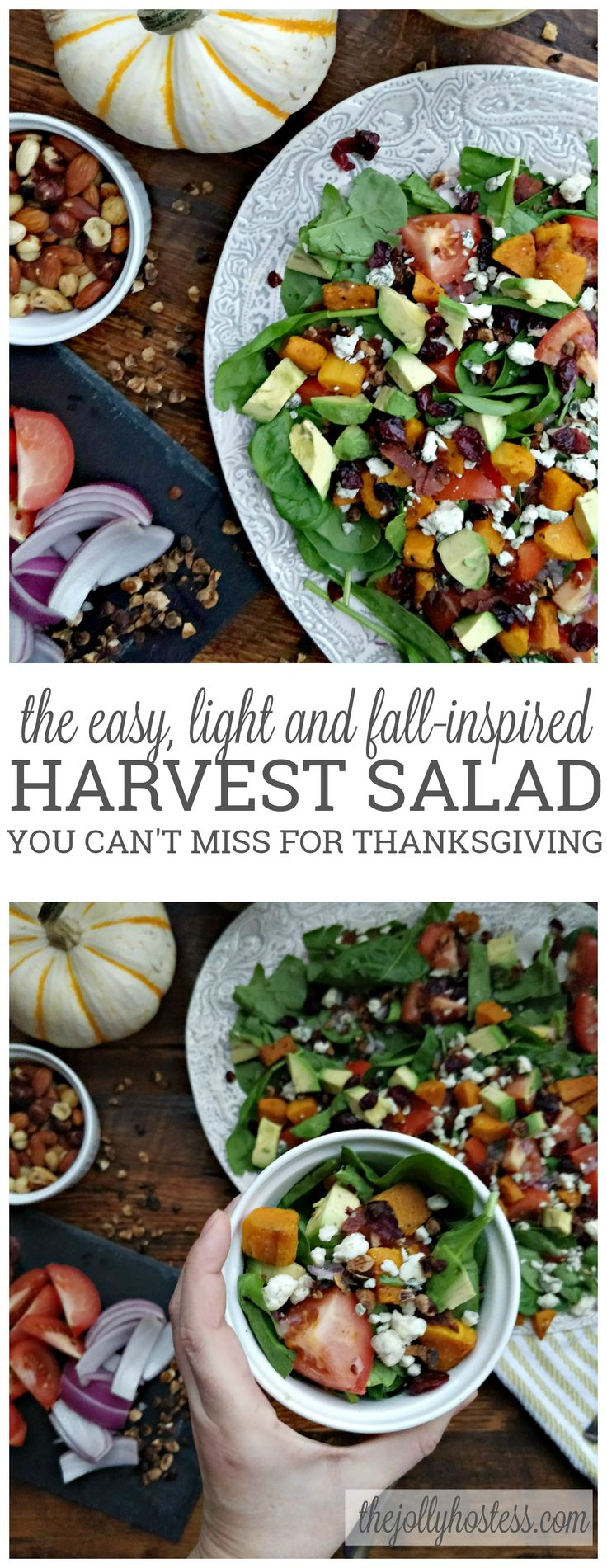 Harvest Salad | easy recipes | fall | winter | holidays | autumn | thanksgiving | sides | butternut squash | turkey bacon | dressing | healthy food | gluten free | quick recipes | roasted