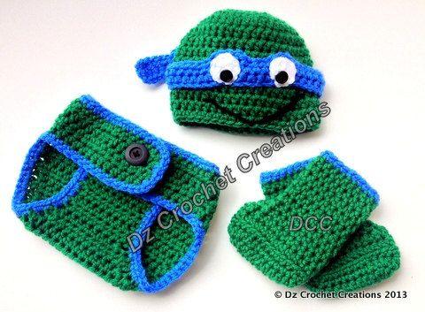 Crochet Ninja Turtle Photo Prop Diaper Cover Set by HandMadeByDz, $23.00