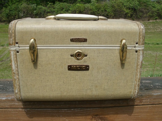 Vintage Cream White Samsonite Carry On Luggage by melissasantiques