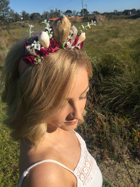 Handmade Festival Flower Mermaid Crown Headband by megfaymakes