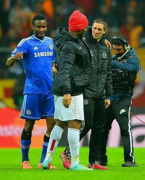 After Match  Didier Drogba with Fernando Torres and John Obi Mikel #CFC