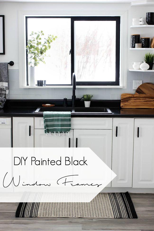 Diy Painted Black Window Frames Black Countertops Kitchen