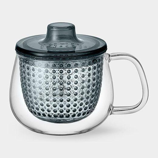 Modern Uni Mug space gray charcoal colored tea pot tea brewer with strainer - UNIMUG tea for one