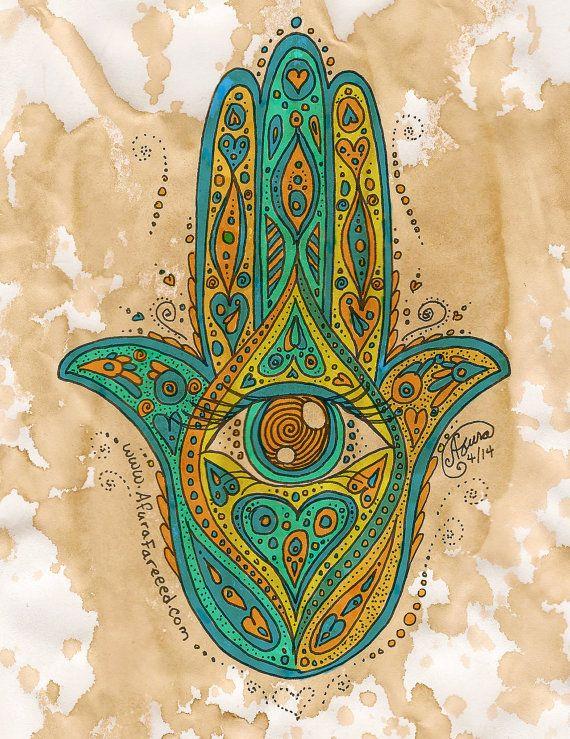 Hamsa Hand Watercolor Painting Bohemian Art Print by OddSoul