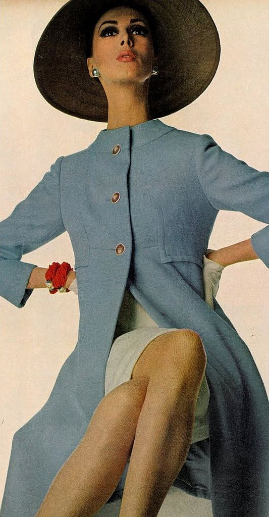Wilhelmina in pale blue wool coat, photo by Irving Penn for Vogue 1966
