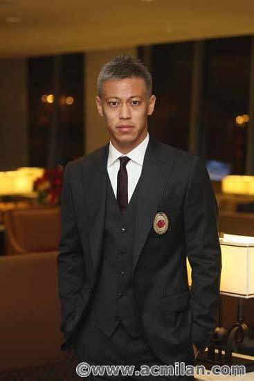 Honda proudly wearing AC Milan's official suit